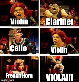 When musicians argue over which is the best instrument, and then there's that one violist... | Violin Clarinet Cello Violin French Horn VIOLA!!! | image tagged in shrek,violin,french horn,clarinet,cello,viola | made w/ Imgflip meme maker