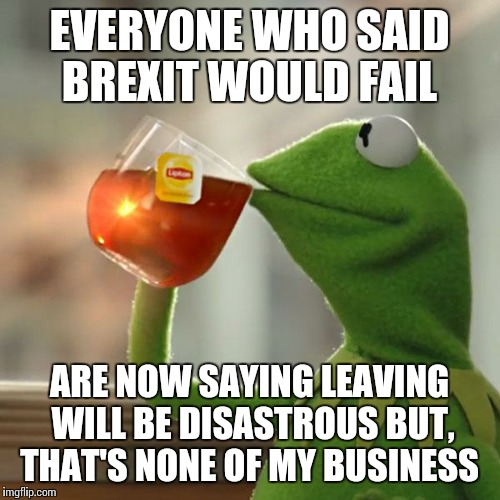 But Thats None Of My Business Meme | EVERYONE WHO SAID BREXIT WOULD FAIL ARE NOW SAYING LEAVING WILL BE DISASTROUS BUT, THAT'S NONE OF MY BUSINESS | image tagged in memes,but thats none of my business,kermit the frog,AdviceAnimals | made w/ Imgflip meme maker