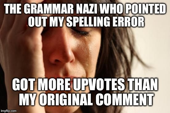 First World Problems Meme | THE GRAMMAR NAZI WHO POINTED OUT MY SPELLING ERROR GOT MORE UPVOTES THAN MY ORIGINAL COMMENT | image tagged in memes,first world problems | made w/ Imgflip meme maker