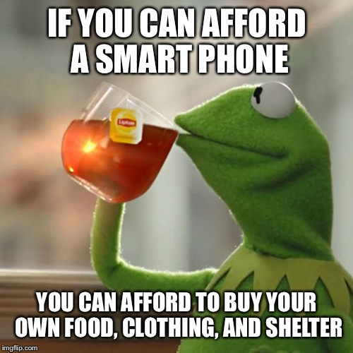 But Thats None Of My Business Meme | IF YOU CAN AFFORD A SMART PHONE YOU CAN AFFORD TO BUY YOUR OWN FOOD, CLOTHING, AND SHELTER | image tagged in memes,but thats none of my business,kermit the frog | made w/ Imgflip meme maker