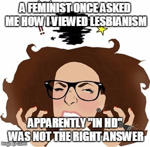 "Feminist Rage | A FEMINIST ONCE ASKED ME HOW I VIEWED LESBIANISM APPARENTLY ""IN HD"" WAS NOT THE RIGHT ANSWER 