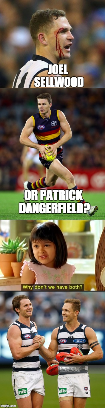 JOEL SELLWOOD; OR PATRICK DANGERFIELD? | image tagged in geelong cats fc,danger,football,afl,bandwagon | made w/ Imgflip meme maker