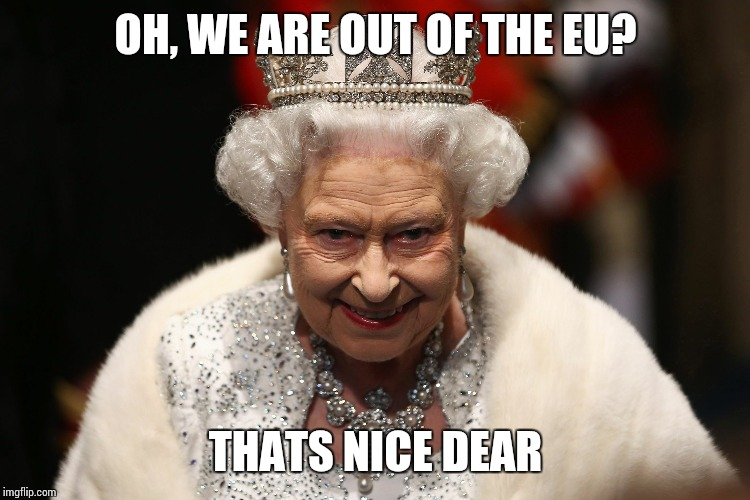 Queen of England | OH, WE ARE OUT OF THE EU? THATS NICE DEAR | image tagged in queen of england | made w/ Imgflip meme maker