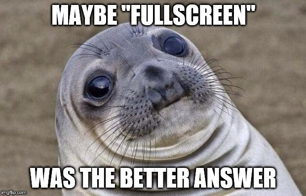 "Awkward Moment Sealion Meme | MAYBE ""FULLSCREEN"" WAS THE BETTER ANSWER 