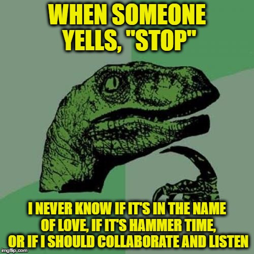 "Philosoraptor Meme | WHEN SOMEONE YELLS, ""STOP"" I NEVER KNOW IF IT'S IN THE NAME OF LOVE, IF IT'S HAMMER TIME, OR IF I SHOULD COLLABORATE AND LISTEN 