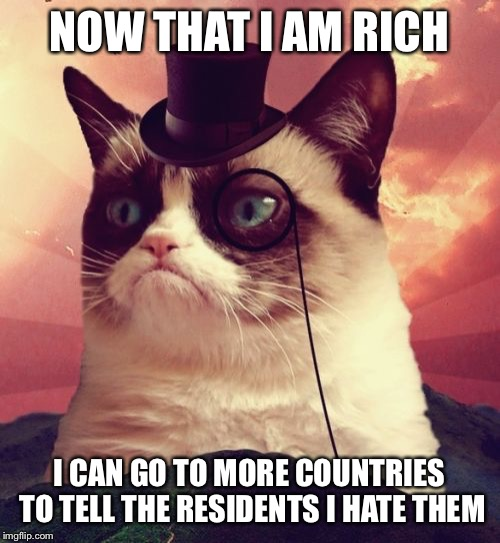 Grumpy Cat Top Hat | NOW THAT I AM RICH I CAN GO TO MORE COUNTRIES TO TELL THE RESIDENTS I HATE THEM | image tagged in memes,grumpy cat top hat,grumpy cat | made w/ Imgflip meme maker