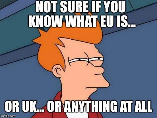 Futurama Fry Meme | NOT SURE IF YOU KNOW WHAT EU IS... OR UK... OR ANYTHING AT ALL | image tagged in memes,futurama fry | made w/ Imgflip meme maker