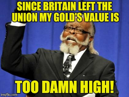 SINCE BRITAIN LEFT THE UNION MY GOLD'S VALUE IS TOO DAMN HIGH! | image tagged in memes,too damn high | made w/ Imgflip meme maker