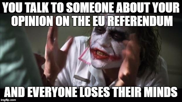 And everybody loses their minds | YOU TALK TO SOMEONE ABOUT YOUR OPINION ON THE EU REFERENDUM AND EVERYONE LOSES THEIR MINDS | image tagged in memes,and everybody loses their minds | made w/ Imgflip meme maker