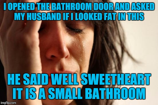 First World Problems Meme | I OPENED THE BATHROOM DOOR AND ASKED MY HUSBAND IF I LOOKED FAT IN THIS HE SAID WELL SWEETHEART IT IS A SMALL BATHROOM | image tagged in memes,first world problems | made w/ Imgflip meme maker