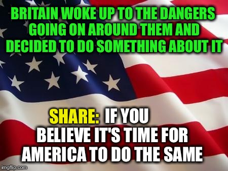 It's Time | BRITAIN WOKE UP TO THE DANGERS GOING ON AROUND THEM AND DECIDED TO DO SOMETHING ABOUT IT IF YOU BELIEVE IT'S TIME FOR AMERICA TO DO THE SAME | image tagged in american flag,brexit,america | made w/ Imgflip meme maker