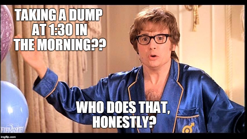 Who does that, Honestly? | TAKING A DUMP AT 1:30 IN THE MORNING?? WHO DOES THAT, HONESTLY? | image tagged in who does that,honestly | made w/ Imgflip meme maker