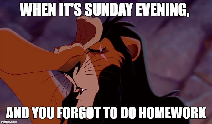 FML! |  WHEN IT'S SUNDAY EVENING, AND YOU FORGOT TO DO HOMEWORK | image tagged in homework,scar,sunday | made w/ Imgflip meme maker