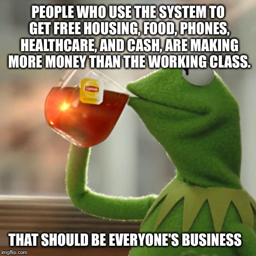 But Thats None Of My Business Meme | PEOPLE WHO USE THE SYSTEM TO GET FREE HOUSING, FOOD, PHONES, HEALTHCARE, AND CASH, ARE MAKING MORE MONEY THAN THE WORKING CLASS. THAT SHOULD | image tagged in memes,but thats none of my business,kermit the frog | made w/ Imgflip meme maker