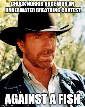Chuck Norris |  CHUCK NORRIS ONCE WON AN UNDERWATER BREATHING CONTEST; AGAINST A FISH | image tagged in chuck norris,memes | made w/ Imgflip meme maker