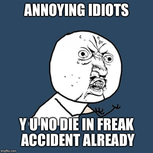 Y U No Meme | ANNOYING IDIOTS Y U NO DIE IN FREAK ACCIDENT ALREADY | image tagged in memes,y u no | made w/ Imgflip meme maker