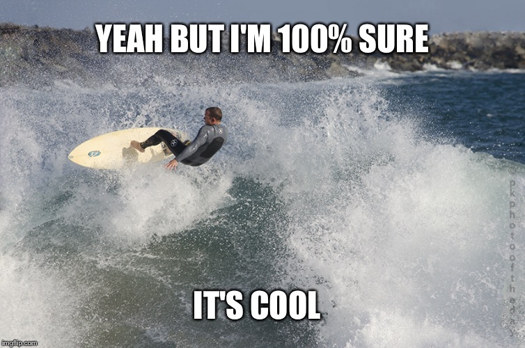 Shredding waves | YEAH BUT I'M 100% SURE IT'S COOL | image tagged in shredding waves | made w/ Imgflip meme maker