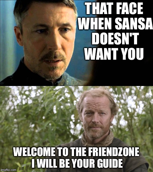 Kings of the friendzone | THAT FACE WHEN SANSA DOESN'T WANT YOU WELCOME TO THE FRIENDZONE I WILL BE YOUR GUIDE | image tagged in game of thrones,hbo | made w/ Imgflip meme maker