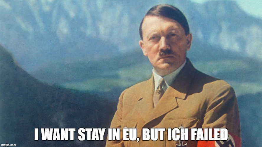 Hitler voted in | I WANT STAY IN EU, BUT ICH FAILED | image tagged in hitler,european union,failed,stay in,leave | made w/ Imgflip meme maker