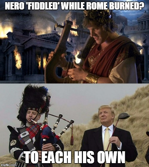 "(whispered) ""it appears his campaign has landed in the bunker - it's at best a double bogey from there..."" 