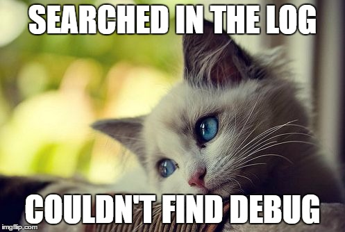 First World Problems Cat Meme | SEARCHED IN THE LOG COULDN'T FIND DEBUG | image tagged in memes,first world problems cat | made w/ Imgflip meme maker