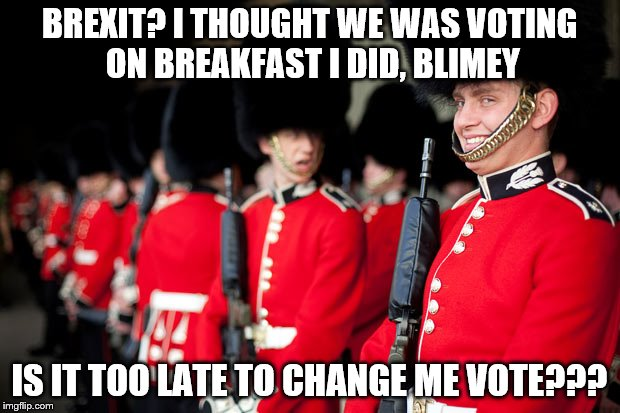 I heard some were having second thoughts over there.  | BREXIT? I THOUGHT WE WAS VOTING ON BREAKFAST I DID, BLIMEY IS IT TOO LATE TO CHANGE ME VOTE??? | image tagged in memes,brexit,queens guard | made w/ Imgflip meme maker