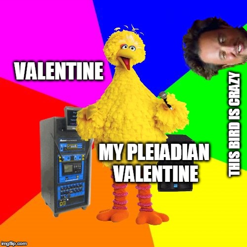 Big Bird sings from the Songs Of Ascension Collection. |  VALENTINE; MY PLEIADIAN VALENTINE | image tagged in wrong lyrics karaoke big bird,ascension,ancient aliens,giorgio tsoukalos,valentine,sewmyeyesshut | made w/ Imgflip meme maker