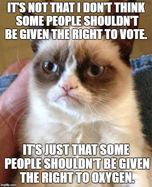 My view on the EU referendum ? | IT'S NOT THAT I DON'T THINK SOME PEOPLE SHOULDN'T BE GIVEN THE RIGHT TO VOTE. IT'S JUST THAT SOME PEOPLE SHOULDN'T BE GIVEN THE RIGHT TO OXY | image tagged in memes,grumpy cat,eu referendum,voting,trump | made w/ Imgflip meme maker