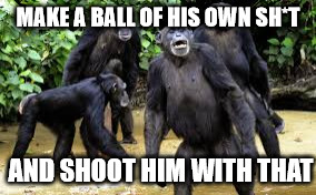 MAKE A BALL OF HIS OWN SH*T AND SHOOT HIM WITH THAT | made w/ Imgflip meme maker