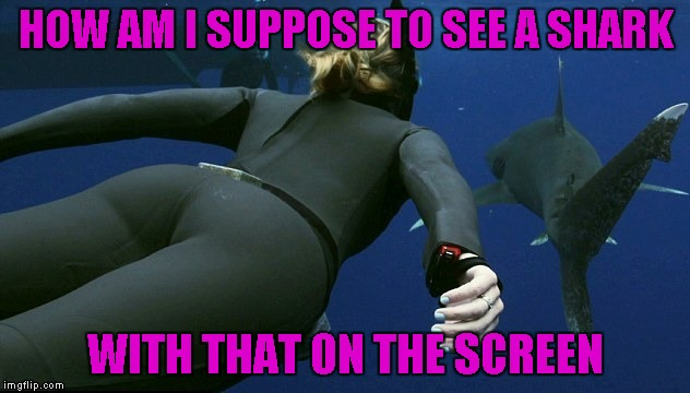 HOW AM I SUPPOSE TO SEE A SHARK WITH THAT ON THE SCREEN | made w/ Imgflip meme maker