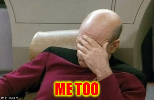 Captain Picard Facepalm Meme | ME TOO | image tagged in memes,captain picard facepalm | made w/ Imgflip meme maker