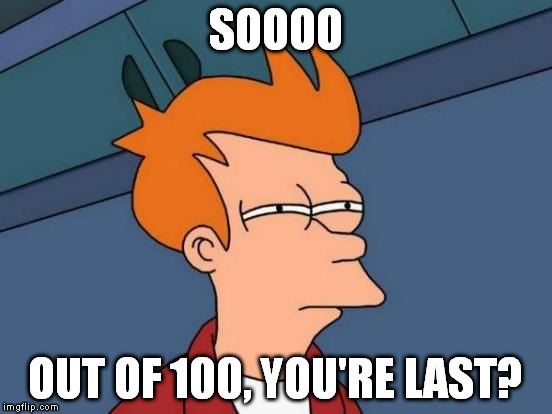 Futurama Fry Meme | SOOOO OUT OF 100, YOU'RE LAST? | image tagged in memes,futurama fry | made w/ Imgflip meme maker