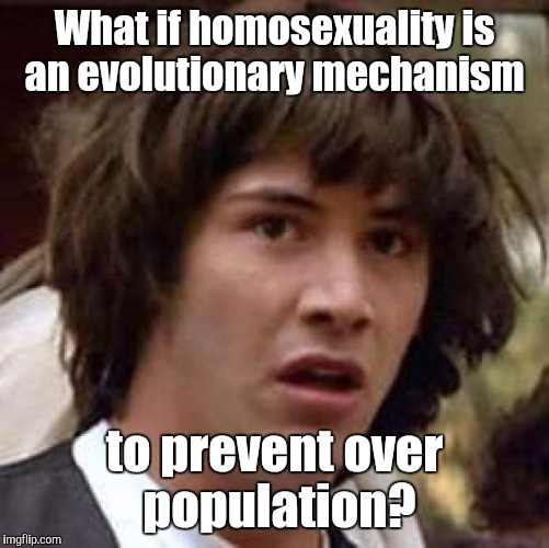 Conspiracy Keanu Meme | What if homosexuality is an evolutionary mechanism to prevent over population? | image tagged in memes,conspiracy keanu | made w/ Imgflip meme maker
