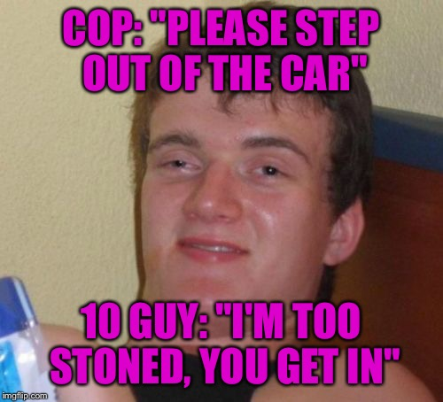 "I think I've been cannabistically profiled.  | COP: ""PLEASE STEP OUT OF THE CAR"" 10 GUY: ""I'M TOO STONED, YOU GET IN"" 