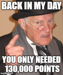 Now You Need A Crown To Get On The All-Time Leaderboard | BACK IN MY DAY YOU ONLY NEEDED 130,000 POINTS | image tagged in memes,back in my day,leaderboard | made w/ Imgflip meme maker