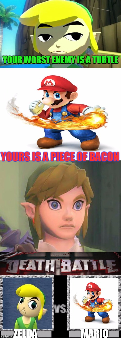you get a cookie(like) if you find the mistake |  YOUR WORST ENEMY IS A TURTLE; YOURS IS A PIECE OF BACON; ZELDA; MARIO | image tagged in memes,super mario,the legend of zelda,death battle,nintendo,super smash bros | made w/ Imgflip meme maker