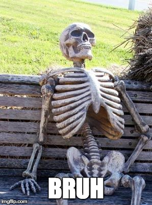 BRUH | image tagged in memes,waiting skeleton | made w/ Imgflip meme maker