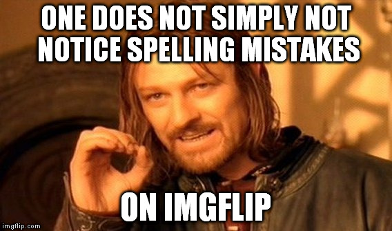 One Does Not Simply Meme | ONE DOES NOT SIMPLY NOT NOTICE SPELLING MISTAKES ON IMGFLIP | image tagged in memes,one does not simply | made w/ Imgflip meme maker
