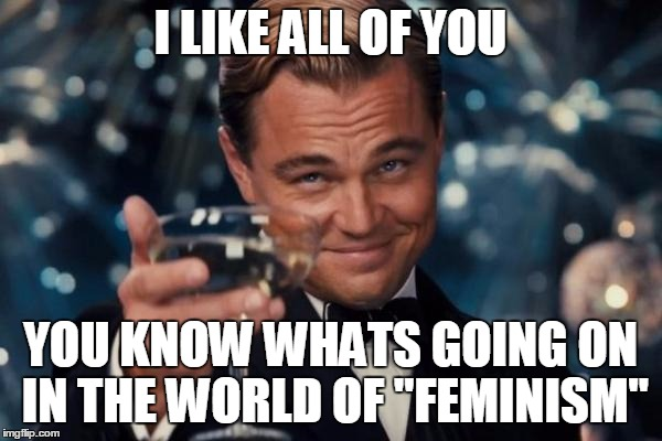 "Leonardo Dicaprio Cheers Meme | I LIKE ALL OF YOU YOU KNOW WHATS GOING ON IN THE WORLD OF ""FEMINISM"" 