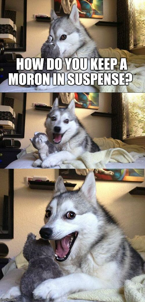 Bad Pun Dog Meme | HOW DO YOU KEEP A MORON IN SUSPENSE? | image tagged in memes,bad pun dog | made w/ Imgflip meme maker
