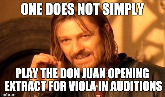 In auditions... | ONE DOES NOT SIMPLY PLAY THE DON JUAN OPENING EXTRACT FOR VIOLA IN AUDITIONS | image tagged in memes,one does not simply,viola audition,violas,music,thatbritishviolaguy | made w/ Imgflip meme maker