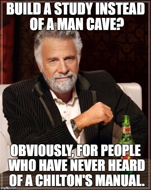 Man Cave Meme : To men that have more books in the garage than women