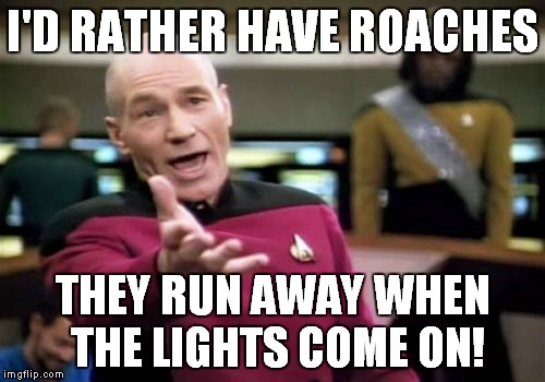 Picard Wtf Meme | I'D RATHER HAVE ROACHES THEY RUN AWAY WHEN THE LIGHTS COME ON! | image tagged in memes,picard wtf | made w/ Imgflip meme maker