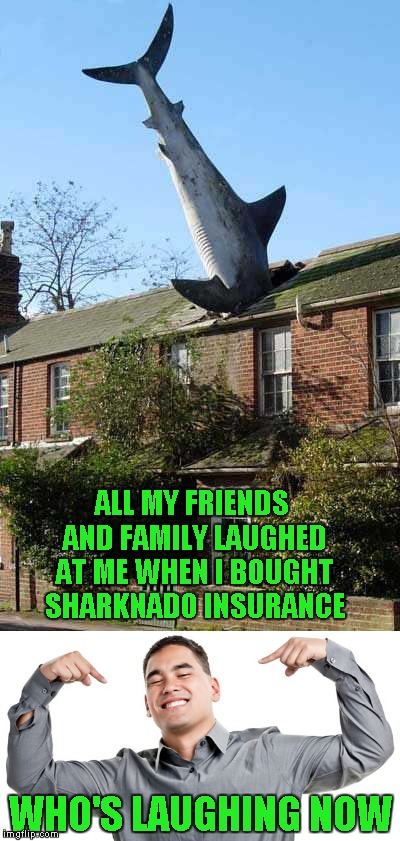 Sharknado 4 is coming soon!!! Get your coverage before it's too late!!! | ALL MY FRIENDS AND FAMILY LAUGHED AT ME WHEN I BOUGHT SHARKNADO INSURANCE WHO'S LAUGHING NOW | image tagged in shark through the roof,memes,shark week,funny,funny sharks,animals | made w/ Imgflip meme maker