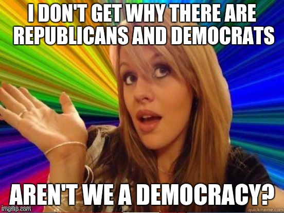 I DON'T GET WHY THERE ARE REPUBLICANS AND DEMOCRATS AREN'T WE A DEMOCRACY? | made w/ Imgflip meme maker