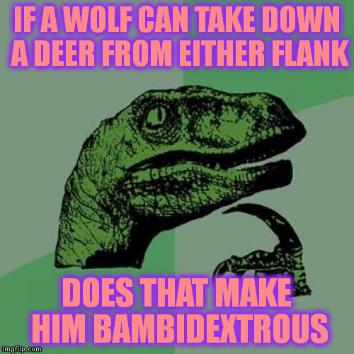 Philosoraptor Meme | IF A WOLF CAN TAKE DOWN A DEER FROM EITHER FLANK DOES THAT MAKE HIM BAMBIDEXTROUS | image tagged in memes,philosoraptor | made w/ Imgflip meme maker
