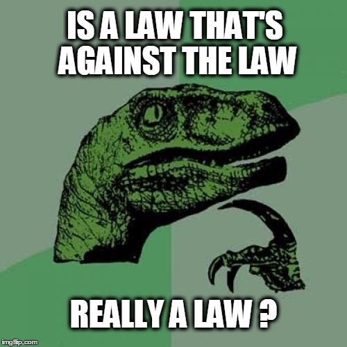 It's the Constitution Stupid |  IS A LAW THAT'S AGAINST THE LAW; REALLY A LAW ? | image tagged in memes,philosoraptor,corruption,politics,the constitution,illegal | made w/ Imgflip meme maker