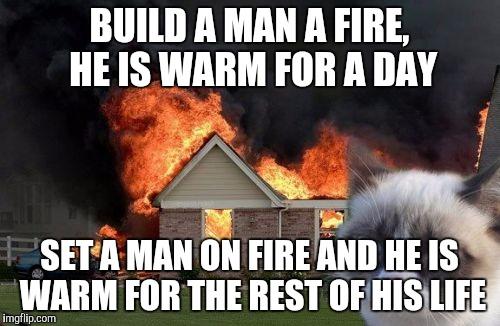 Setting car on fire meme 14