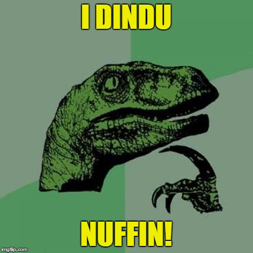Philosoraptor Meme | I DINDU NUFFIN! | image tagged in memes,philosoraptor | made w/ Imgflip meme maker