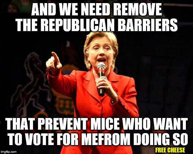 AND WE NEED REMOVE THE REPUBLICAN BARRIERS THAT PREVENT MICE WHO WANT TO VOTE FOR MEFROM DOING SO FREE CHEESE | made w/ Imgflip meme maker